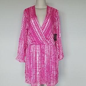 Boston Proper pink splotchy print dress-M